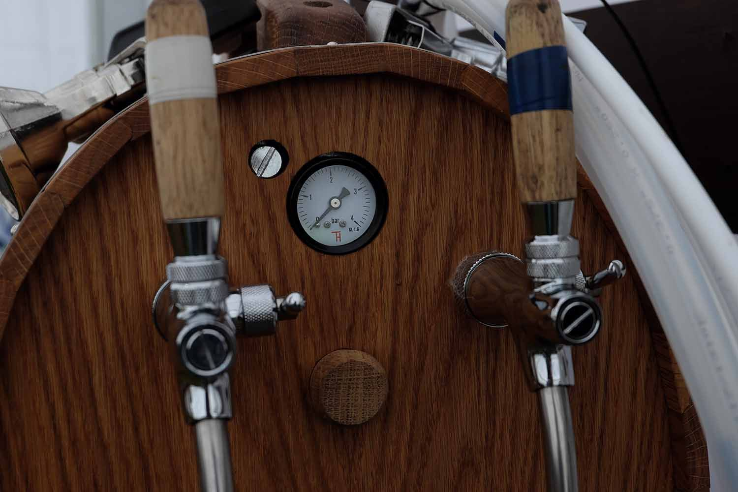 Close up of keg and cask racking